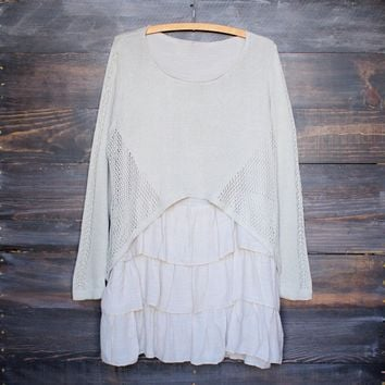 Open Knit Cozy Sweater Tunic with Ruffle Hem in Khaki