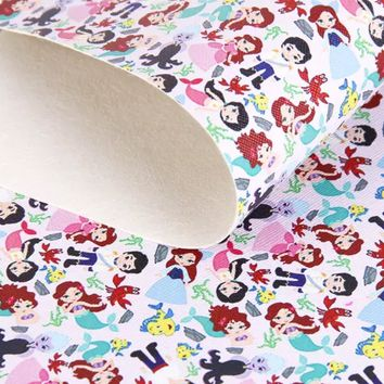 The Little Mermaid Ariel faux leather fabric sheet