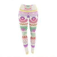 "Famenxt ""Decorative Ornament"" Yellow Multicolor Yoga Leggings"