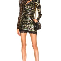 Olive Multi Sequins And Lace Mini Dress