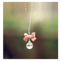 Sweet Atmosphere Pale Pink Bow Ball Drop Pendant Necklace