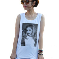 Ariana Grande Singer Billboard Music Tank top T-Shirt Tops White Sexy Summer Women Girl women's Shirt Size XS,S,M,L