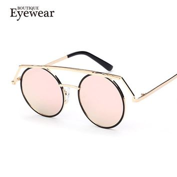 BOUTIQUENewest Flat Top Round Sunglasses Men Gothic Steampunk Fashion Vintage Mirror Glasses Women Steam Punk UV400
