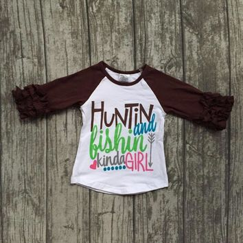 "Girls ""Hunting and Fishing Kinda Girl"" Raglan Shirt"