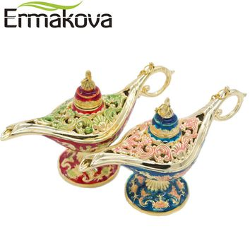 ERMAKOVA Colorful Metal Aladdin Magic Lamp Retro Wishing Oil Lamp Aladdin Genie Lamp Incense Burner Home Decor Gift Child Toy