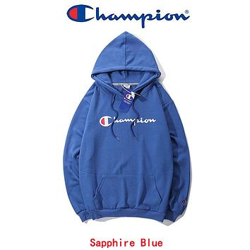 Champion Long Sleeve Hedging Pullover Sweater Hoodies Sapphire Blue