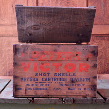 Vintage Wood Ammo Crate, Peters Victor Ammo Box, Remington Arms Co Inc, Bridgeport Connecticut