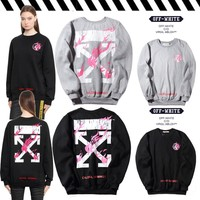 OFF WHITE Winter Stripes Round-neck Pullover Hoodies [11501027660]
