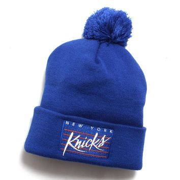 New York Knicks Cursive Script Pom Beanie Blue