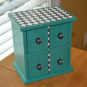 Jewelry Box Treasure Box. Teal Green