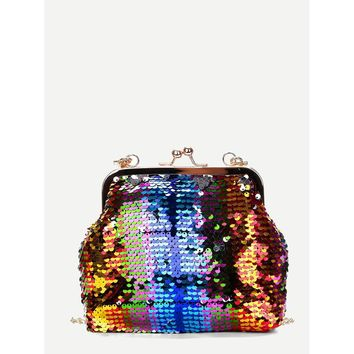 Kiss Lock Rainbow Sequin Shoulder Bag
