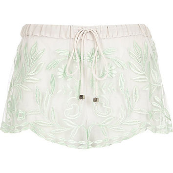 River Island Womens Mint green embroidered shorts