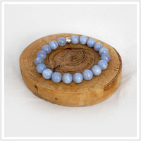 Blue Lace Agate/ Energy Bracelet / Mala Meditation Bracelet / Healing / Health and Calmness / Yoga Bracelet / Power Beads / Peace