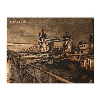 Vintage London Tower Bridge In Rainy Day Drawing Wood Print