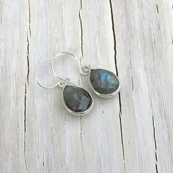 Labradorite Tear Drop Dangle Earring, Bezel Earring, Drop Earring, Dangle Earring, Christmas Ideas for Her, Gifts 25 under, Gifts for Her