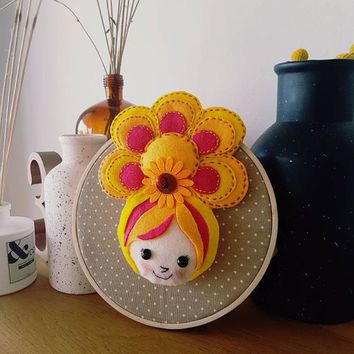 Girl Face on Embroidery Hoop, Cute Girl Face, Woman Portrait Shelf Standing, Little Women Collection, Girl with Sunflower, Round Shelf Stand