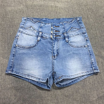 All-match Fashion Casual Large Size High Waist Retro Shorts Jeans Hot Pants