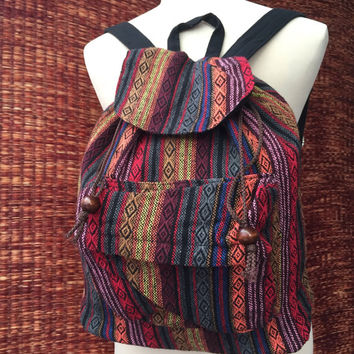 Tribal Boho Backpack Hmong Hill tribe Styles Fabric Woven Ethnic ikat design Overnight travel bag Hippies Gypsy hipster Red orange