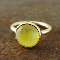 Chalcedony Ring - Gold Ring - Yellow Chacedony - Gemstone Ring - Statement Ring - handmade jewelry