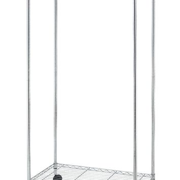 New Chrome 2-Tier Rolling Clothing Garment Rack Shelving Wire Shelf Dress G70