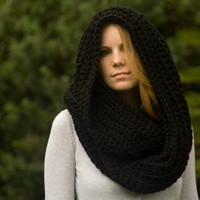 Oversized Infinity Scarf, Black Hooded Chunky Crochet Hood