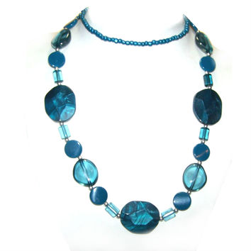Teal Blue Designer Look Statement Necklace - Blue Green Long Chunky Graduated Bead Strand Necklace