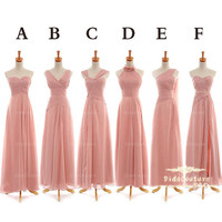 Blush Pink Bridesmaid Dress,Cheap Bridesmaid Dress,Long Chffon Bridesmaid Dress,Cheap Prom Dress