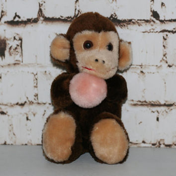 "80s Monkey Plush Pink Ball Stuffed Animal 7"" Circus Brown Cute Kawaii Plushies Gift Toy Collectors 7"