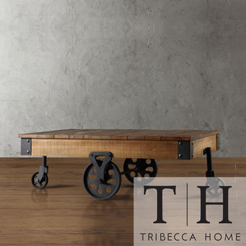 TRIBECCA HOME Myra Vintage Industrial Modern Rustic Cocktail Table | Overstock.com