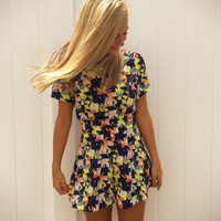 Print Open Back Romper