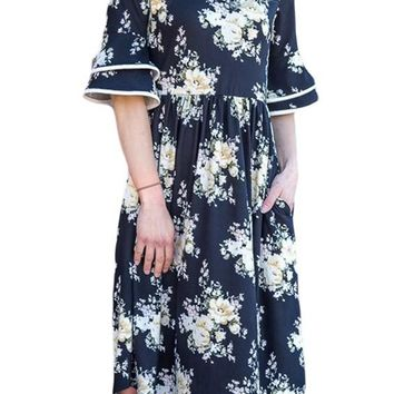 Navy Layered Bell Sleeve Floral Print Dress