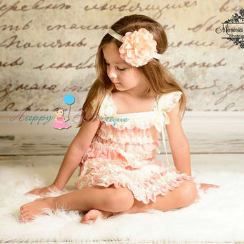 flower girl dess, Ivory Blush Peach Lace Dress, ruffle dress, girls dress, Birthday outfit, baby dress, wedding flower girls, toddler dress