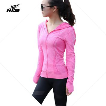 HTLD Sexy Zipper Jacket Long Sleeved Casual Hoodies Workout Sweatshirts Women Fitness Coats Harajuku Tracksuits Moletom Feminino