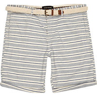 Navy stripe belted turn up shorts