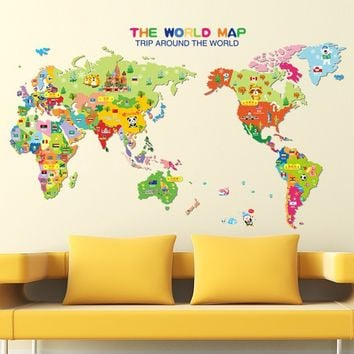 World Map Wall Stickers Office Classroom School Bedroom Living Room Kids' Room Nursery Decoration DIY Removable Wall Decals