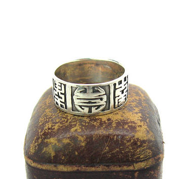 Chinese Symbol Ring. Sterling Silver 925 Wide Cigar Band. Incised Shou Character Longevity, Good Luck. Vintage Unisex Asian 1970s Jewelry