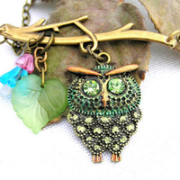 Retro Style Baby Owl Rhinestone Necklace
