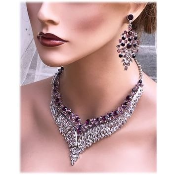 Purple Crystal Bridal Necklace and Earrings Jewelry Set