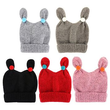Cute Winter Baby Hats Soft Warm Infant Girls Boys Bunny Ears Knitted Hat Skullies Beanies Caps Fashion Kids Ball Hats Caps
