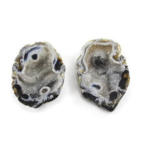 Brazilian Agate Polished Oco Geode Pair with Druzy Quartz Crystals - 30% off sale!!!