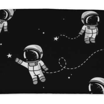 Bath Mat, Cute Doodle Astronauts Floating In Space