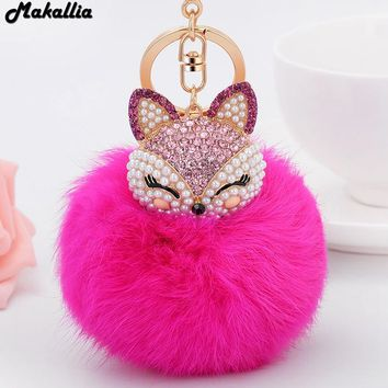 Artificial Rabbit Fur Ball Keychain for Handbag Car Key Ring Cute Fox Inlay Simulated Pearl Pendant Key Chains Amazing