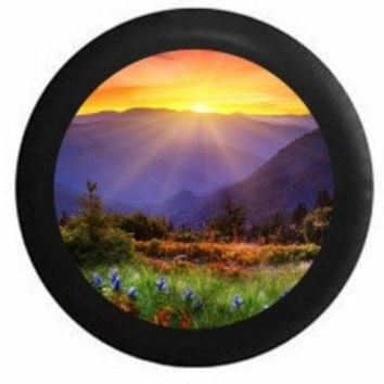 Full Color Sunrise Sunset behind Mountain Range field of Flowers RV Camper Jeep Spare Tire Cover