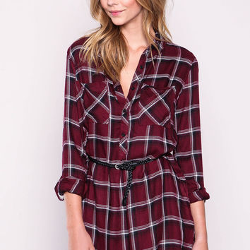 WINE TWILL PLAID BELTED SHIRT DRESS