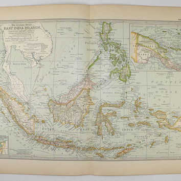 1899 East Indies Map, Philippines Malaysia Map, Borneo Sumatra Island, Dutch East India Islands, Vintage Map Tropical Islands Vacation Gift