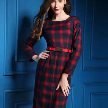 Red Plaid Long Sleeve Midi Dress