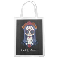 Sugar Skulls, Day of the Dead Tote Grocery Bags
