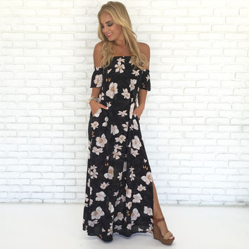 Before I Fall Floral Maxi Dress in Black
