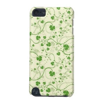 Green Clover Leaf Fabric Apple iPod Touch Cover
