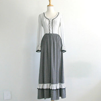 1970s Maxi  Dress / black and white polka dot dress / leslie fay / womens party dress / alternative wedding / small medium